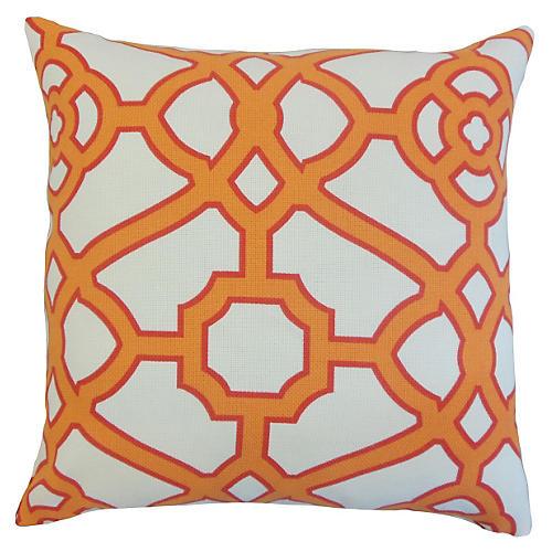 Geometric 20x20 Outdoor Pillow, Orange
