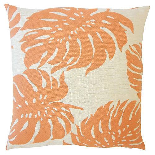 Palm Leaf Outdoor Pillow, Orange
