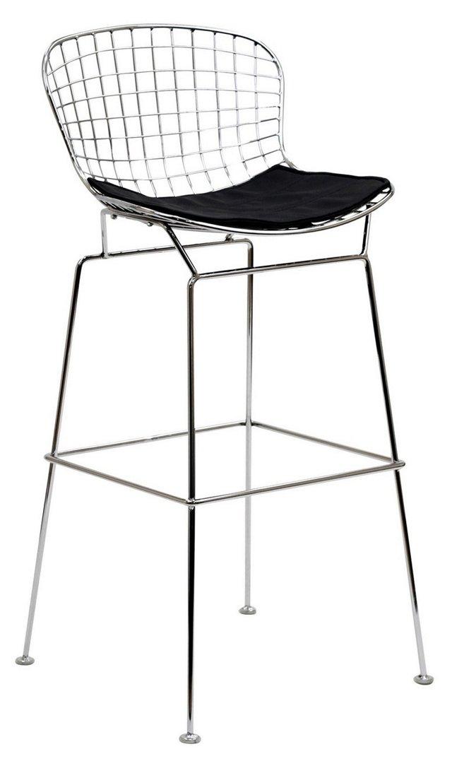 *IK Wynn Wire Barstool, Silver/Black
