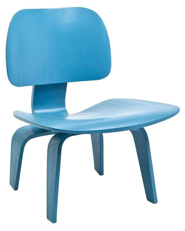 *IK Colbert Wood Lounge Chair, Light Blu