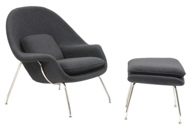 *IK W Lounge Chair & Ottoman Set, Gray