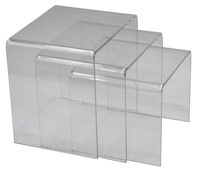 Clear Casper Nesting Tables, Set of 3