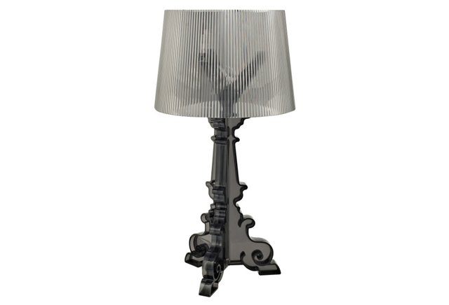 French Acrylic Table Lamp, Black
