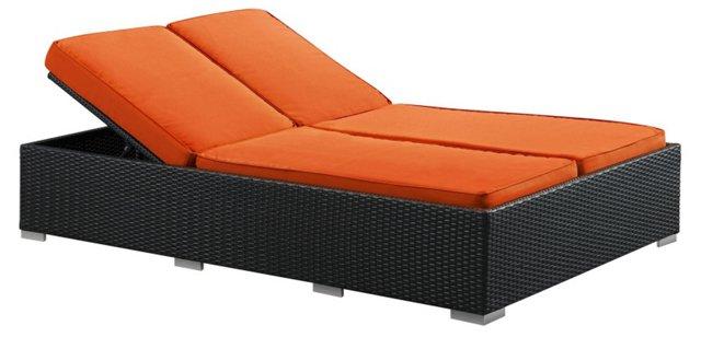 Evince 2- Seater Chaise, Espresso/Orange
