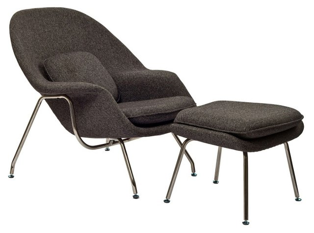 *IK Lounge Chair & Ottoman Set, Charcoal