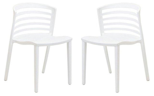 White Curvy Chairs, Pair