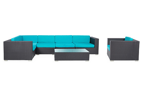 Calypso 7-Pc Sectional, Turquoise