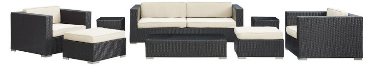 Oahu 8-Pc Sofa Set, Espresso/White