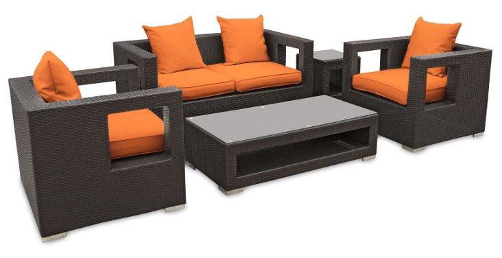 Carmel 5-Pc Sofa Set, Espresso/Orange
