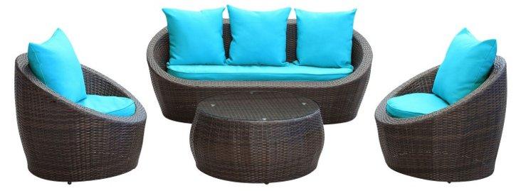 Calistoga 4-Pc Sofa Set, Brown/Turquoise