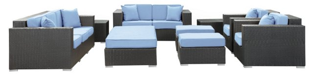 Fontana 9-Pc Sofa Set, Espresso/Blue