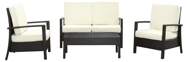 Cielo 4-Pc Sofa Set, Espresso/White