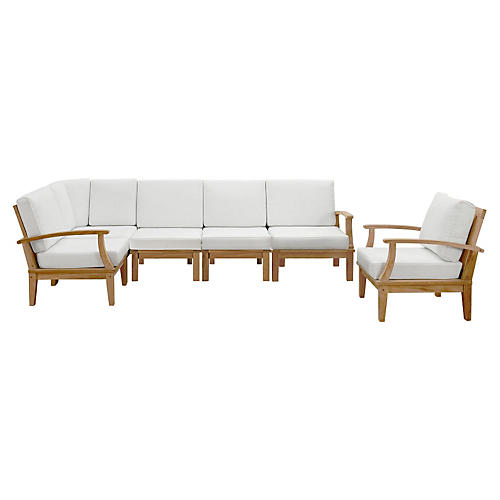 Marina Outdoor Patio Teak Sofa, Set of 6