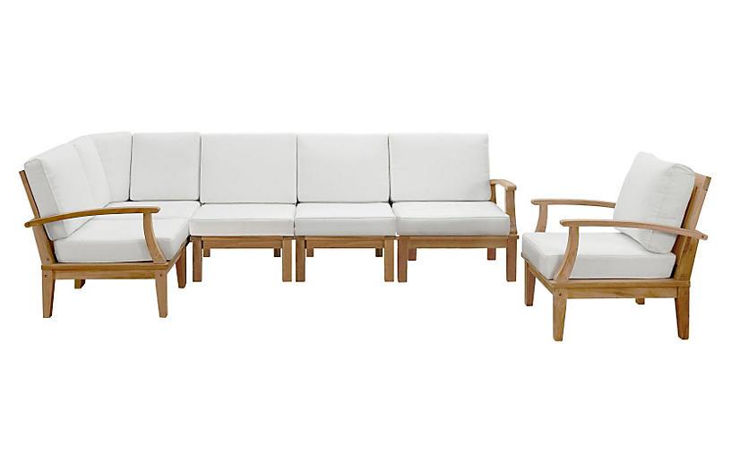 Marina Outdoor Patio Teak Sofa, Set of 6