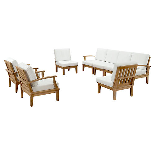 Marina Outdoor Patio Teak Sofa, Set of 8