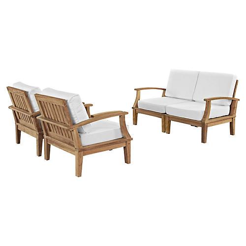 Marina Outdoor Patio Teak Sofa, Set of 4