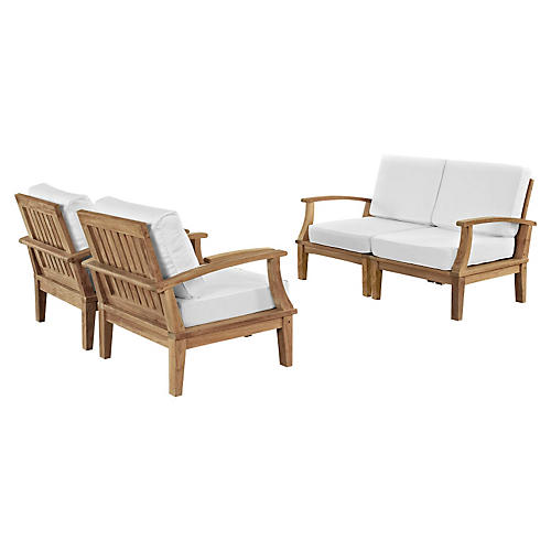 Marina Outdoor Patio Teak Sofa, Set of 4