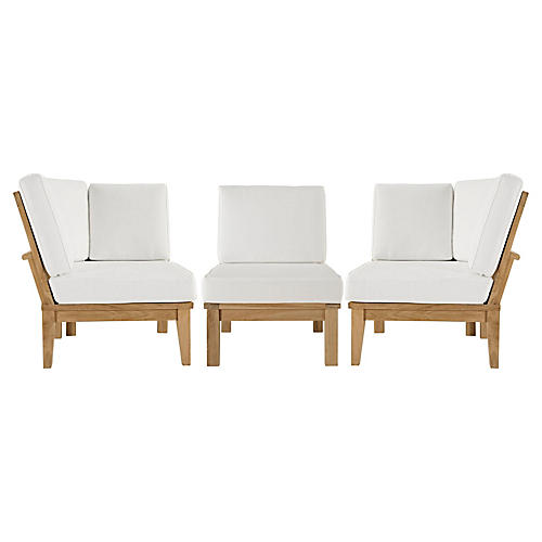 Marina Outdoor Patio Teak Sofa, Set of 3