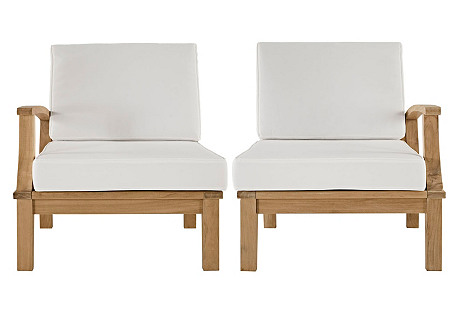 Marina Outdoor Accent Chairs, Set of 2