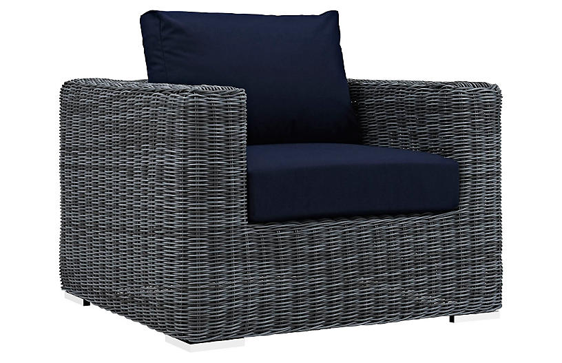 Freeport Armchair, Gray/Navy