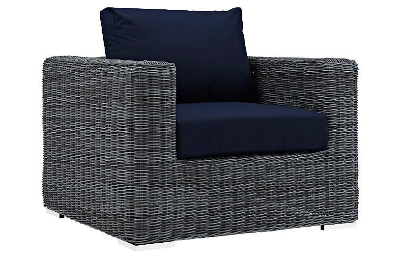Freeport Armchair, Gray/Navy