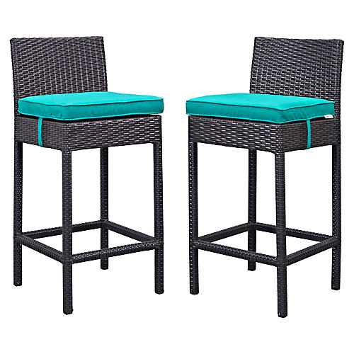 Turquoise Lift Outdoor Barstool, Pair