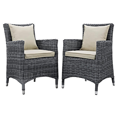 Beige Sunbrella Outdoor Armchairs, Pair