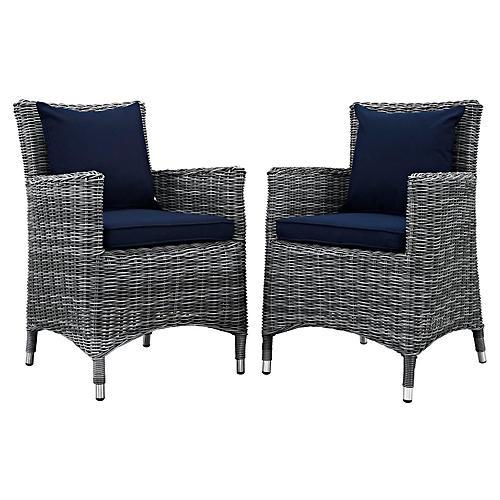 Navy Sunbrella Outdoor Armchairs, Pair