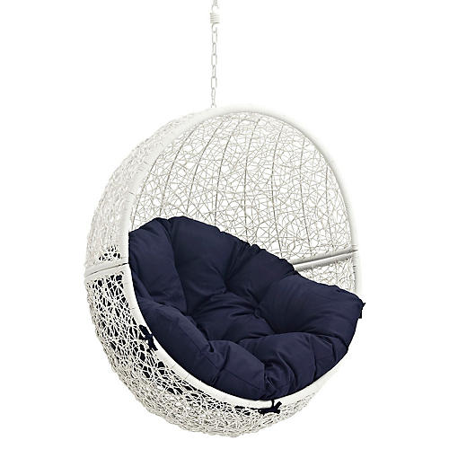 Hide Outdoor Porch Swing, White/Navy