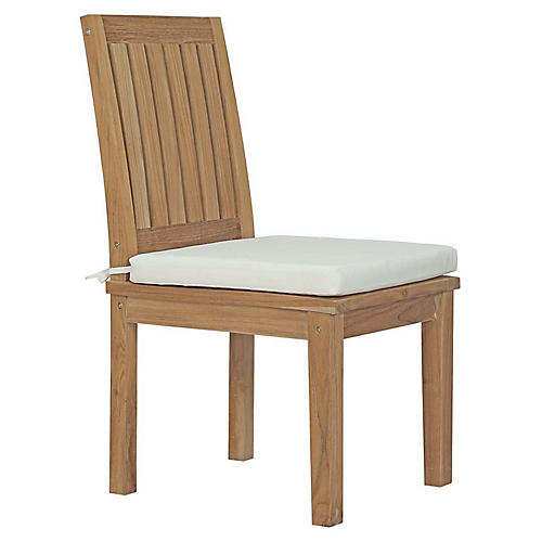Donovan Outdoor Side Chair, White Sunbrella