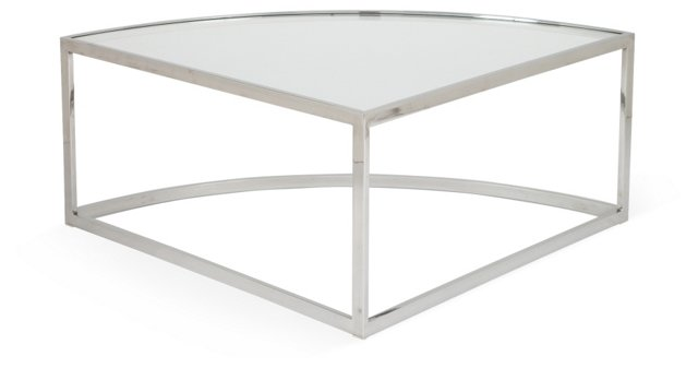 Chrome & Glass Wedge Occasional Table