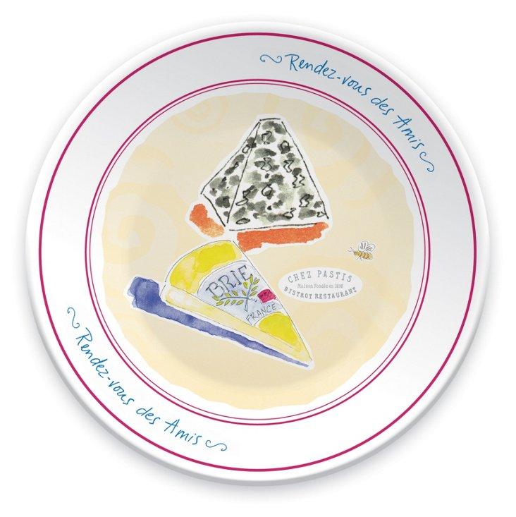 S/6 Porcelain Rendez-Vous Plates, Cheese