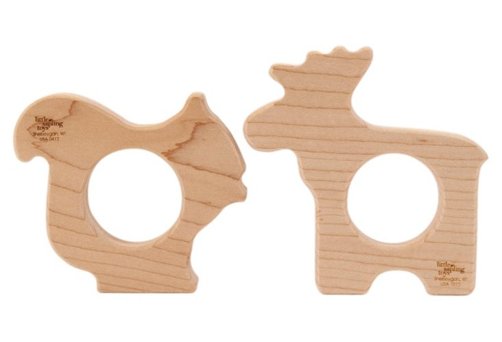 Squirrel and Moose Teether Set