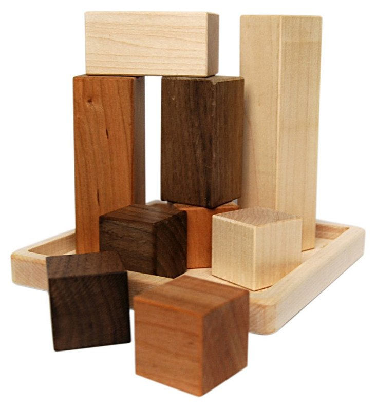 Wooden Building Block Puzzle with Tray