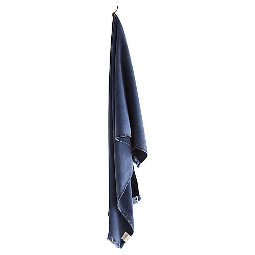 Stonewashed Cotton Bath Towel, Indigo