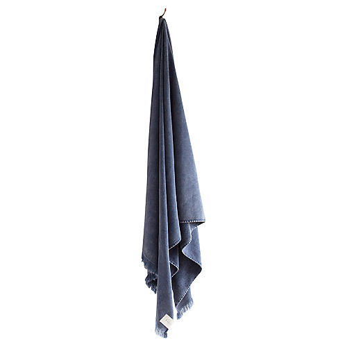 Stonewashed Cotton Bath Sheet, Indigo