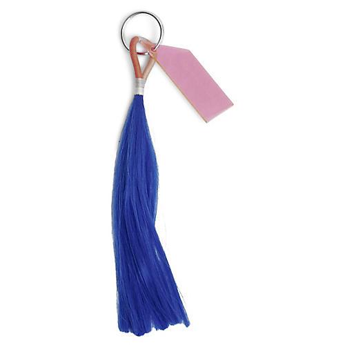 Technicolor Tassel Keychain, Blue