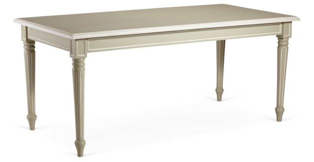 "Bernard 71"" Dining Table, Moss Gray/White"