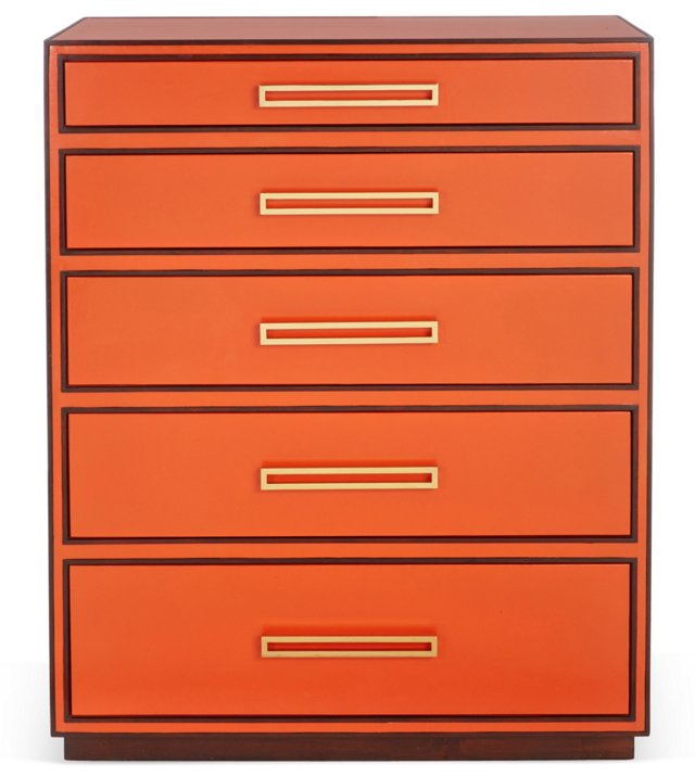 "Aria 38"" Leather Chest, Tangerine"