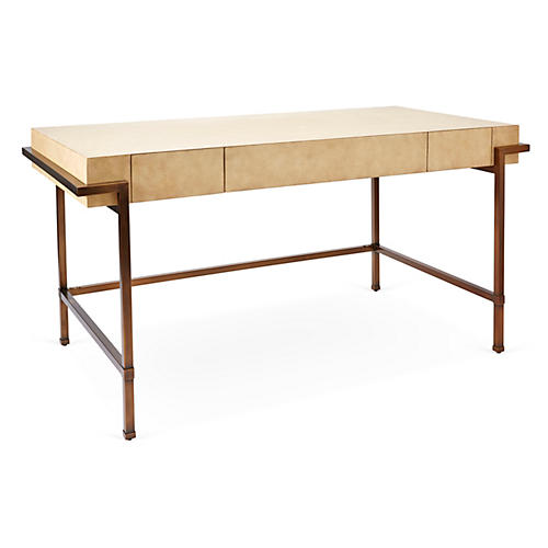"Parchment 60"" Writing Desk, Cream/Brass"