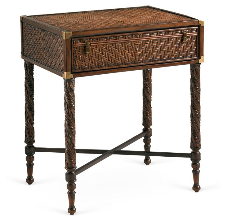 "Martinique 25"" Rattan Nightstand, Brown"