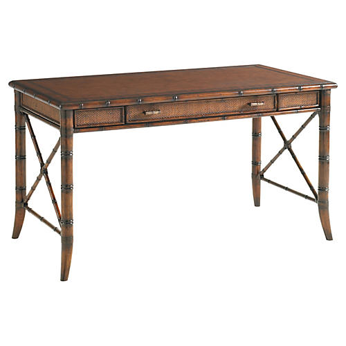Marianna Rattan Writing Desk, Amber