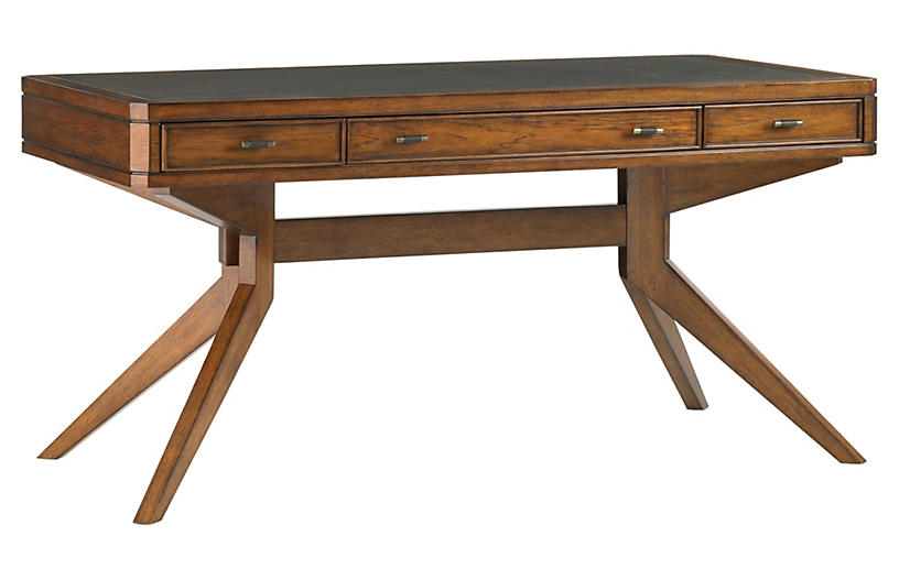 Lido Shores Leather-Top Desk, Ebony