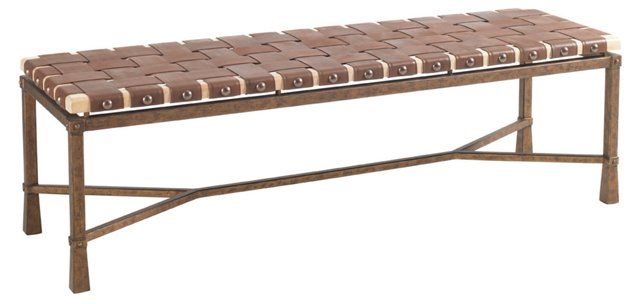 "Paddington 58"" Woven-Leather Bench"