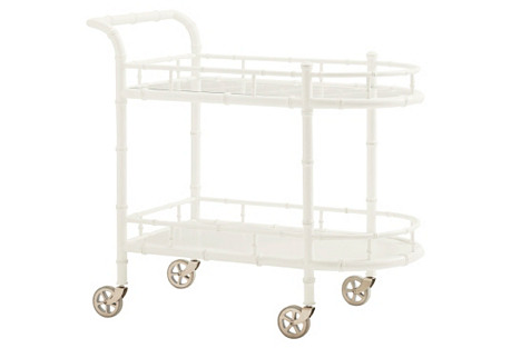 Warwick Bamboo Bar Cart, White