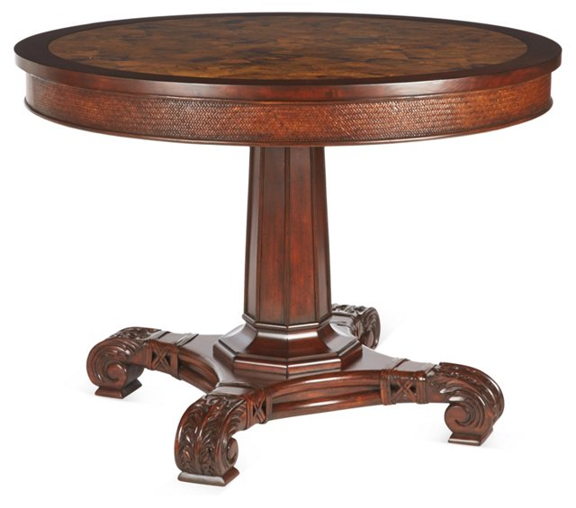 "Wellington 42"" Leather Center Table"