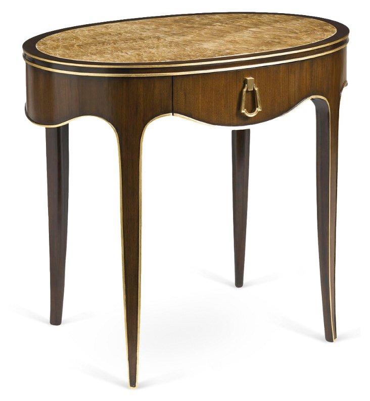 "Polimar 32"" Oval Side Table, Walnut/Gold"
