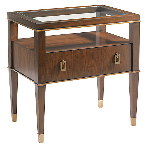 Evanston Glass-Top Nightstand, Walnut