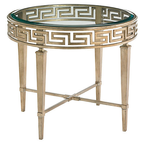 Aston Greek Key Round Side Table, Gold