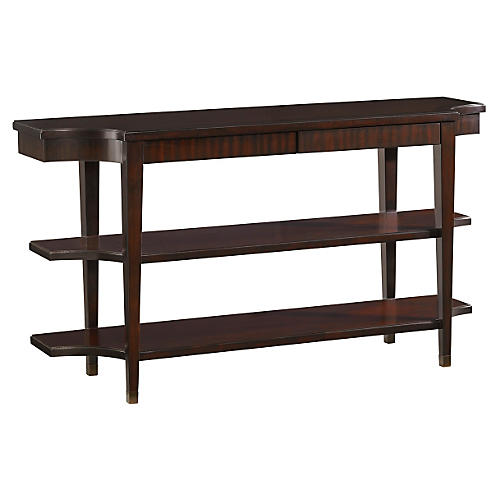 "Blakeney 64"" Tiered Console Table, Brown"